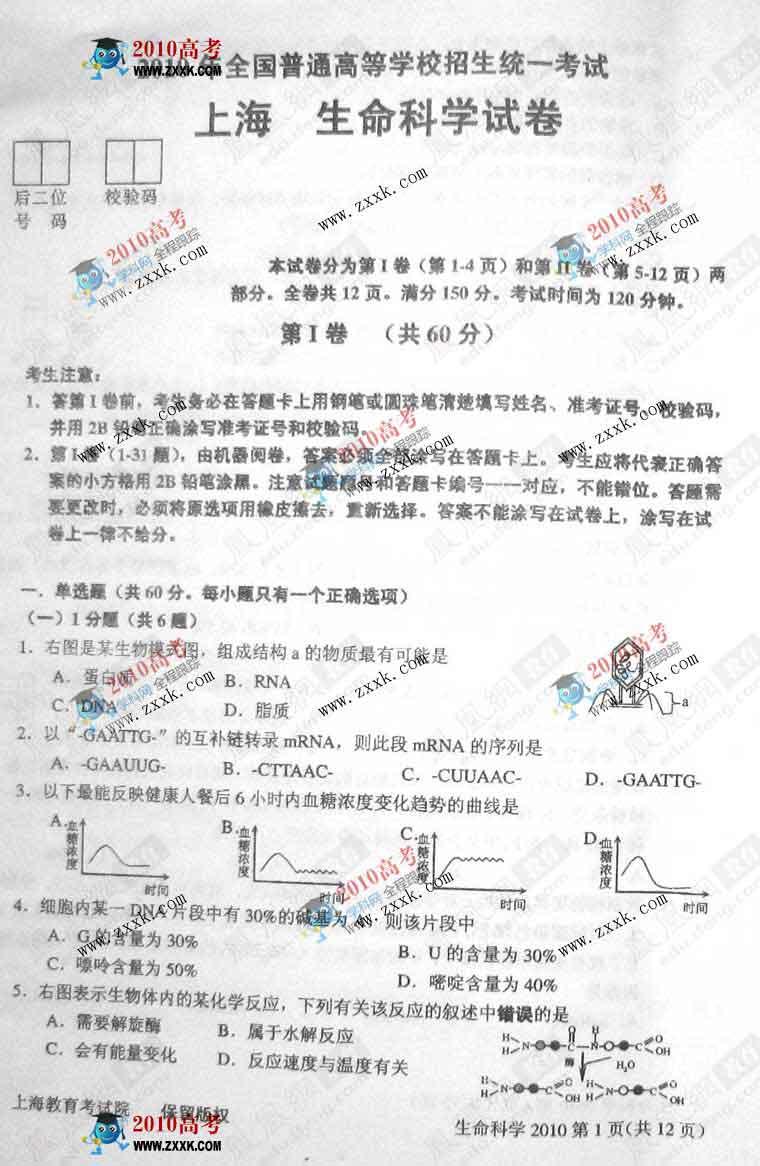 上海:2010年高考生物试卷及答案