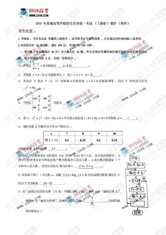 上海:2010年高考理科数学试卷及答案