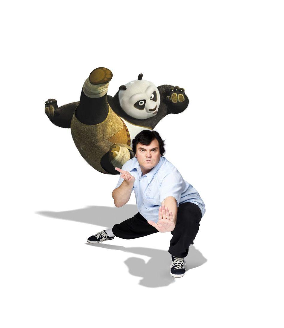图为《功夫熊猫2》高清海报人物介绍 杰克布莱克为阿宝配音,杰克