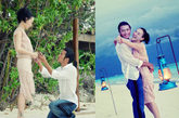 """2,菲律宾情定""""终生"""" 沙滩装打造""""最养眼""""的幸福时刻 在2011年谢霆锋和张柏芝二人结婚5周年时,一组2006年9月18日,谢霆锋在菲律宾向张柏芝求婚的照片被曝光。外界只知道那场精心筹备两个月的求婚有戒指、有烟花及少数几位宾客。且不说两人情定的是否是""""终生相许"""",但照片中的浪漫氛围确实羡煞了众人。张柏芝裸色包身沙滩裙与豹纹坡跟沙滩凉鞋都是适合夏日海边的度假款式,与谢霆锋的宽松白色衬衫、休闲仔裤绝对是般配。"""
