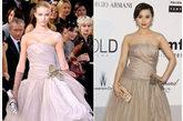 范冰冰身穿这款Louis Vuitton2010秋冬系列抹胸晚礼裙,丰满的身材加上冰冰白皙的皮肤,将这款淡粉色薄纱演绎的惟妙惟肖。