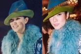 郑秀文从来都有自己的一套潮流风格,而色彩是她最常应用的元素。图中蓝色与绿色撞色的欧式礼帽搭配湖蓝色皮草,存在感十足的搭配方式你敢尝试吗?