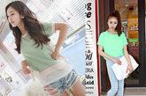 鲜艳的绿色T恤能够带来清爽的夏日印象,搭配浅色牛仔系列最完美。如果是略微休闲的款式可以选择左图的破洞热裤,整体印象更为甜蜜可人。右图的搭配法则更复古摩登,并且大玩全身撞色,重点放在长腿上。