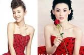 复古波点大热,张柏芝就和张静初同穿一件Dolce & Gabbana的红色波点抹胸连衣裙就撞在了一起,但各有各的风格。