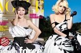 小S和林赛-罗韩撞衫,身着印有梦露头像的Dolce&Gabbana 09秋冬系列抹胸裙。