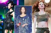 演唱会上张靓颖一身Bling Bling的亮片连衣裙折射出五彩的灯光,成功吸睛的舞台搭配。