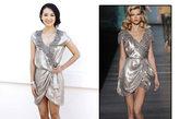 迪奥2010春夏款的银色小礼服,别致的剪裁,松垮有型,精致的蕾丝花纹镶边,华丽美艳,搭配同色系的银色高跟鞋,简直太完美了!
