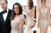 凯特穿一条英国新设计师品牌珍妮-帕克汉2011春夏礼服亮相。这条用施华洛世奇水晶装饰的玫瑰亮片Bling Bling飘逸长裙衬托得凯特非常得明丽动人。