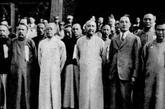 1930年9月9日,北平反蒋派决议组织国民政府,推阎锡山为政府主席。前排左四为阎锡山,左五为汪精卫。