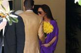 5月7日,贝嫂举办了一场生孩子之前的聚会,紫色裙装有效修饰身型,Christian Louboutin裸色恨天高依然作陪,鞋跟16cm、防水台6cm。