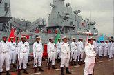 资料图:中国上海沪东中华造船厂建造的首艘F-22P型护卫舰正式交付巴基斯坦海军。图为在交付庆典上。