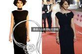 徐若瑄穿香奈儿resort 2010的黑色礼服,颈上香奈儿山茶花钻石项链价值近5千万。