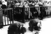 日本战犯在法庭上跪地谢罪。