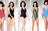 同样是泳装,在1980年港姐们换上了稍加性感设计的V领泳装,突出胸线、锁骨、和臀线的设计让这一年的港姐们风采大增!