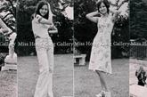 1975年获奖港姐们的生活照中我们能看出当年的时装依旧是很朴素的款式,单裙设计,花边装饰也很简单,近乎平面的裙装却已经和一年前得港姐造型通勤装款式上有了不少飞跃。