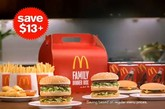麦当劳全家桶 供应地点:澳大利亚  想想看,绝对物超所值的开心全家桶套餐,还能挑选自己和家人最喜欢的产 品。每份全家桶里都有四个三明治——或是汉堡、炸鸡、零食——四份薯条 ,四倍中号饮料和麦乐鸡块,起价19美元。麦当劳给你家一样的温馨感觉。 这份套菜在捷克共和国和马来西亚地区也可以买到——除了没有给宠物的份。