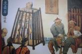立枷,是枷号的一种发展后的形式,于清朝开始正式作为法律惩治手段。这种特制的木笼上端是枷,卡住犯人的脖子;脚下可垫砖若干块,受罪的轻重和苟延性命的长短,全在于抽去砖的多少。有的死刑犯会被如此示众三天后论斩。