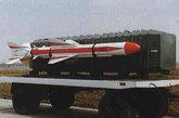 """""""鹰击-8""""舰对舰导弹,采用固体燃料发动机,为""""鹰击-8""""系列的始祖,其出口型号为C-801。"""