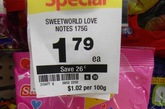 这个糖售价每100克1.02元