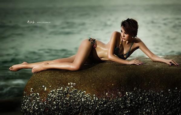 美女沙滩秀性感 zol网友人像作品欣赏