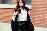 奥利维亚·巴勒莫 (Olivia Palermo)  这身装扮出彩在高跟鞋和皮草马甲上,在简单平凡的搭配中,皮质半身裙跟高跟鞋的组合显得人更加纤细高挑,皮草马甲则加入了狂野性感的气质。