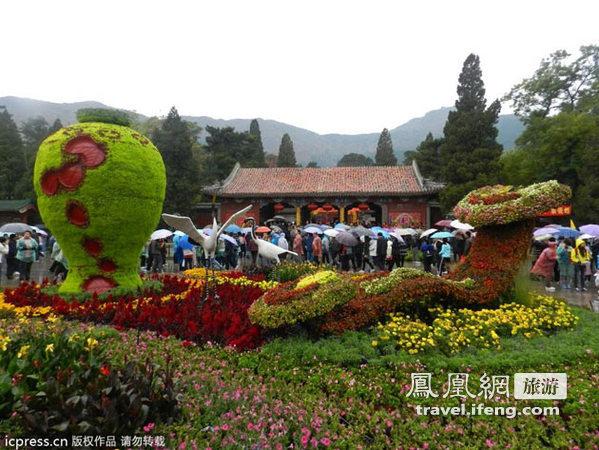 香山红叶节即将闭幕 周末游客冒雨前往