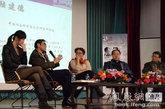 李洱、莫言、李莎、陆建德和邱晓雨在凤凰网读书会现场(从右到左)
