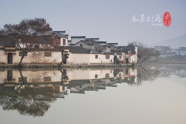 春天宏村风景画