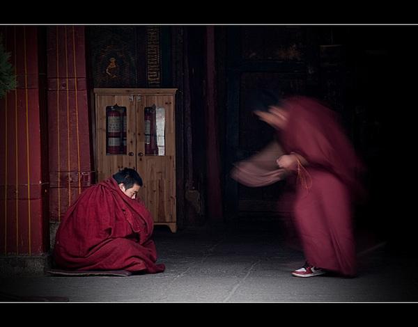 圣地拉萨·大昭寺喇嘛辩经的激烈瞬间 - 静水流深 - 静水流深