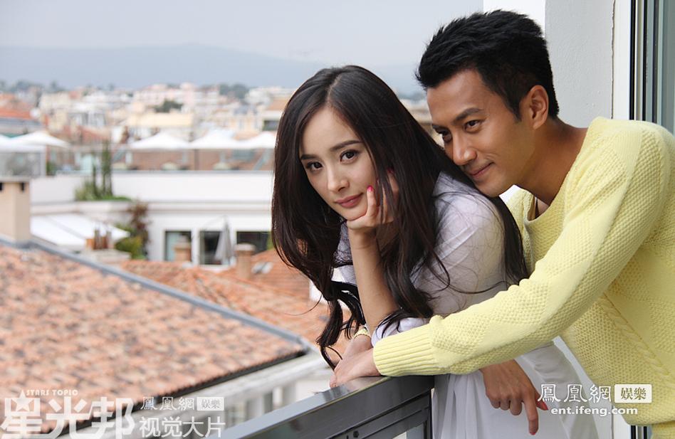 凤凰网娱乐独家镜头:杨幂刘恺威戛纳秀甜蜜高
