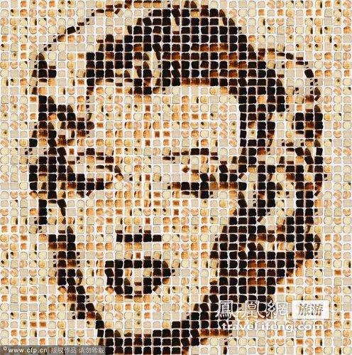 舌尖上的艺术  烘焙面包片拼接名人肖像照