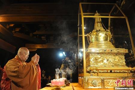 西山灵光寺佛牙舍利塔中供奉的释迦牟尼佛真身牙舍利