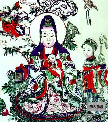 清代彩色大像《观音送子》(图片来源:慧海佛教资源库)