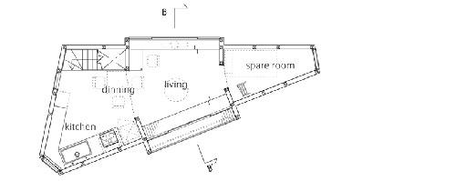 三角形装修:东京日本的崛之内线路建筑电住宅的v线路方案图片