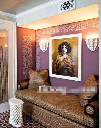 壁纸 墙面/客厅紫底白花墙面