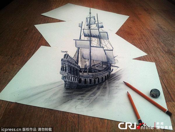他擅长用铅笔绘制3d立体画作