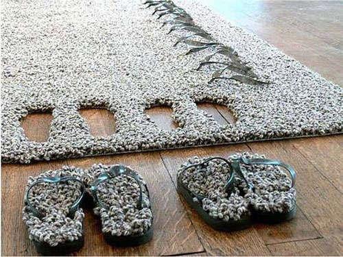 地毯拖鞋二合一的创意设计.
