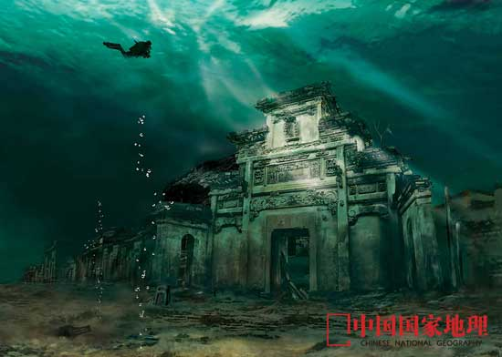水下古城 水下古城:水下世界是寂静的,淤泥终会把一切掩埋,但是,与人类自身的改造力量相比,大自然的演进速度毕竟是缓慢的。所以我们还有机会继续探寻这座古城的角角落落,让时间真正定格成永恒。绘图/左妍 2009年11月的某个傍晚,我们到达浙江淳安县千岛湖镇。想要探访的狮城(原遂安县城)还在几十公里外的湖水之下,我只好到中心湖区游船码头转悠。现在的淳安县由原淳安和遂安两县合并而来,现在的千岛湖镇在合并之前称为排岭,原是松林蔽日满目苍翠的大山,现在成了三面环水的小半岛。 1800多年前,三国天下,战乱纷起群雄争