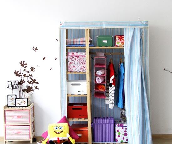 168无纺布拉门衣柜简易衣柜实木家具布衣柜