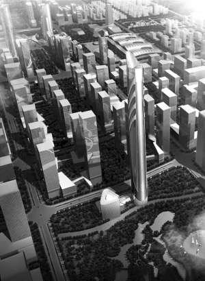 综合体主体建筑效果图-济南西客站400米高楼呼之欲出 将成西客站新高清图片