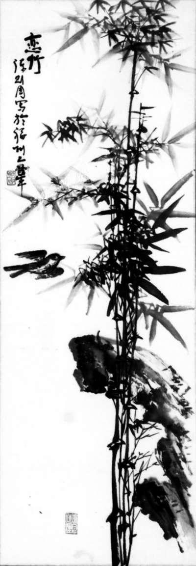 塔的水墨画