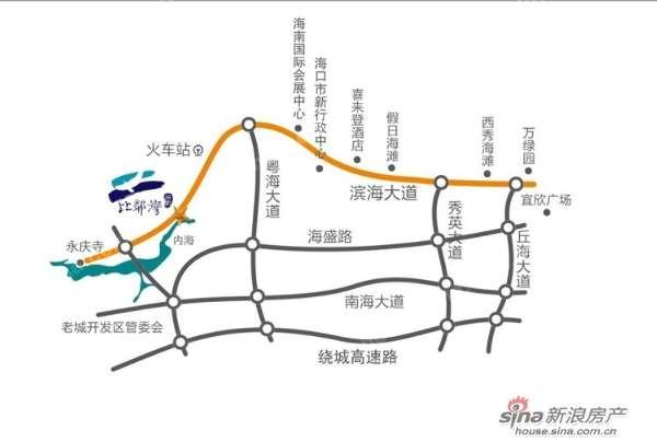 粤海 大道转滨海 大道至海口金贸区25分钟车程;东线轻轨在年底通车后